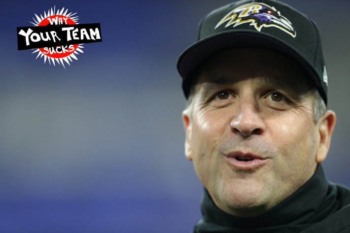 BALTIMORE, MARYLAND - DECEMBER 12: Head coach John Harbaugh of the Baltimore Ravens prepares with the team before the game against the New York Jets at M&T Bank Stadium on December 12, 2019 in Baltimore, Maryland. (Photo by Patrick Smith/Getty Images)