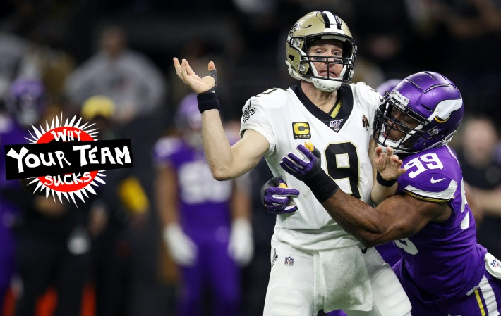 NEW ORLEANS, LOUISIANA - JANUARY 05: Drew Brees #9 of the New Orleans Saints fumbles the ball as he is sacked by Danielle Hunter #99 of the Minnesota Vikings during the fourth quarter in the NFC Wild Card Playoff game at Mercedes Benz Superdome on January 05, 2020 in New Orleans, Louisiana. (Photo by)