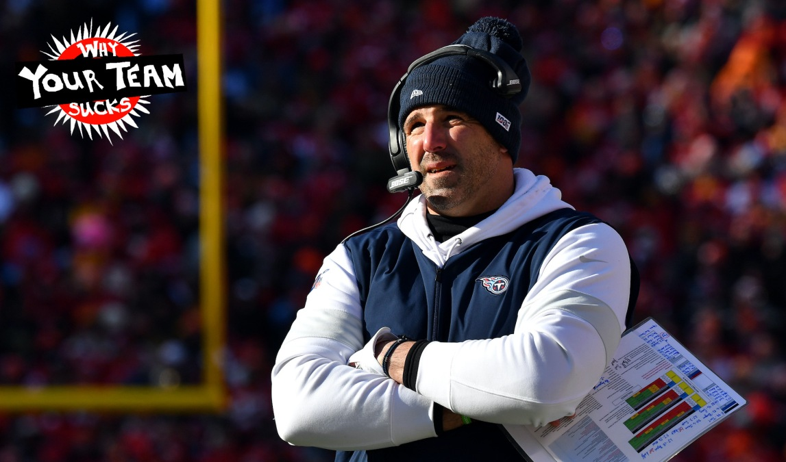 KANSAS CITY, MISSOURI - JANUARY 19: Head coach Mike Vrabel of the Tennessee Titans looks on in the first half against the Kansas City Chiefs in the AFC Championship Game at Arrowhead Stadium on January 19, 2020 in Kansas City, Missouri. (Photo by Peter Aiken/Getty Images)