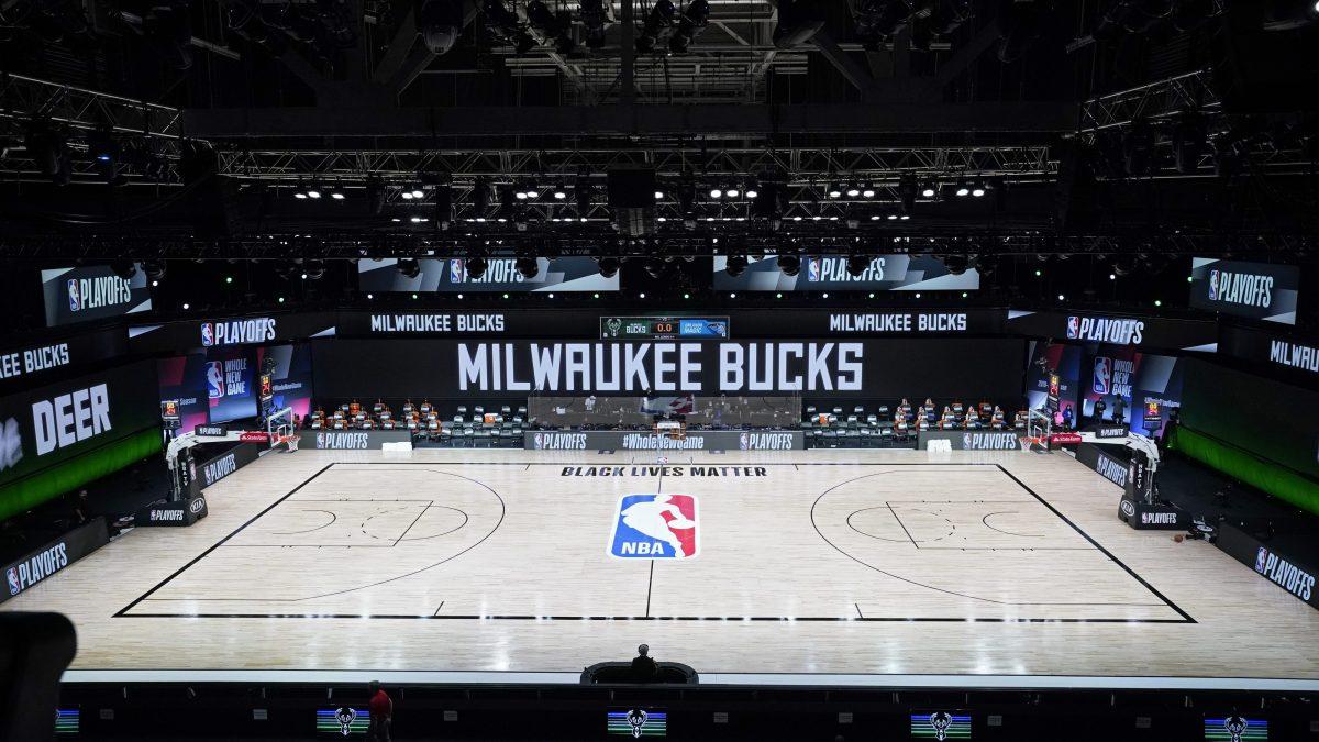 Empty NBA court on August 26, 2020