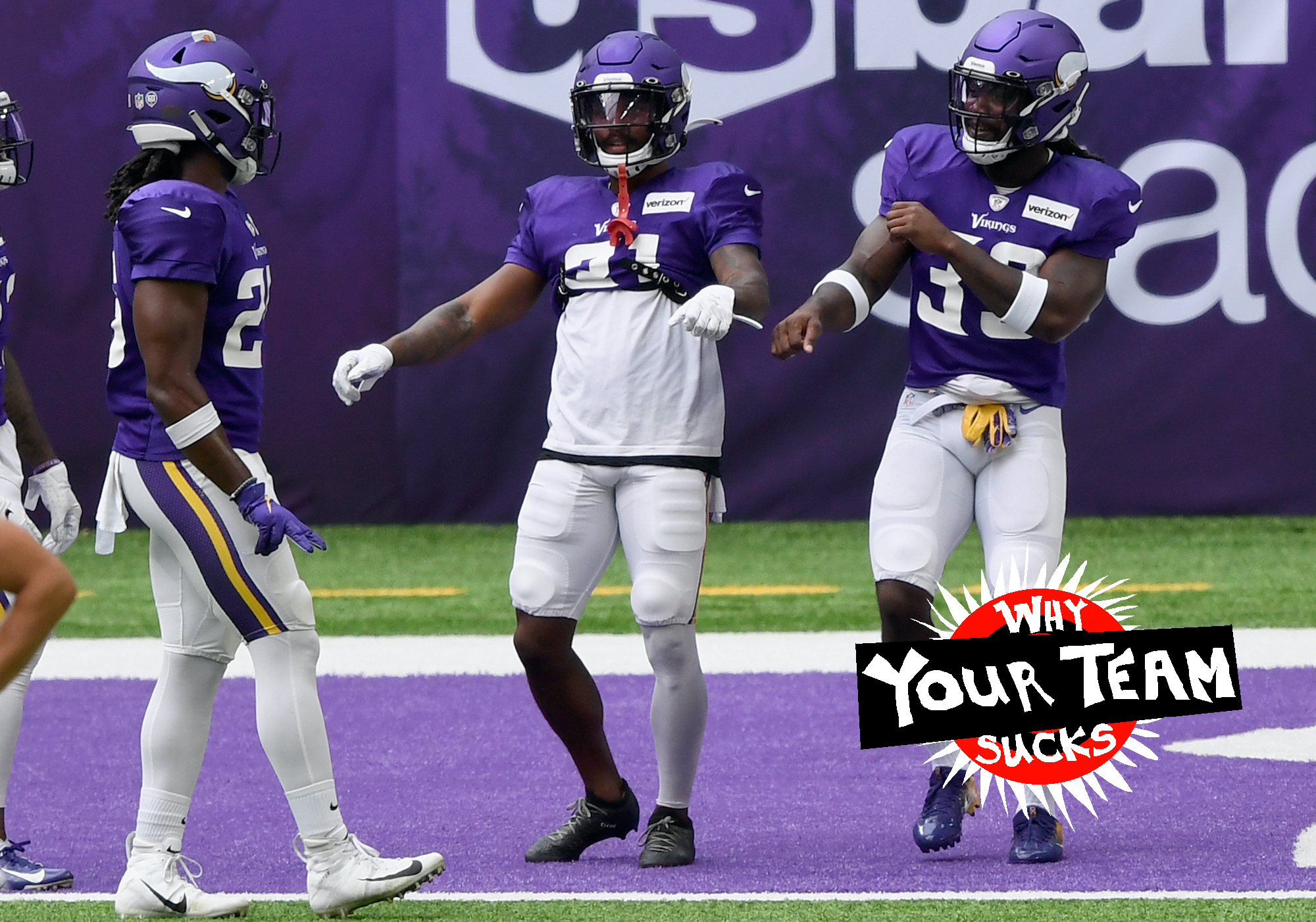 MINNEAPOLIS, MINNESOTA - AUGUST 28: (L-R) Running backs Alexander Mattison #25, Ameer Abdullah #31 and Dalvin Cook #33 of the Minnesota Vikings dance during training camp on August 28, 2020 at U.S. Bank Stadium in Minneapolis, Minnesota. (Photo by Hannah Foslien/Getty Images)