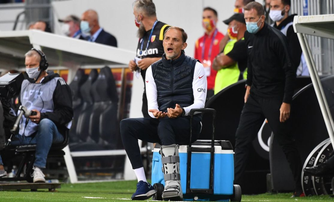 Paris Saint-Germain's German coach Thomas Tuchel reacts during the French L1 football match between Racing Club de Lens (RCS) and Paris-Saint-Germain (PSG).