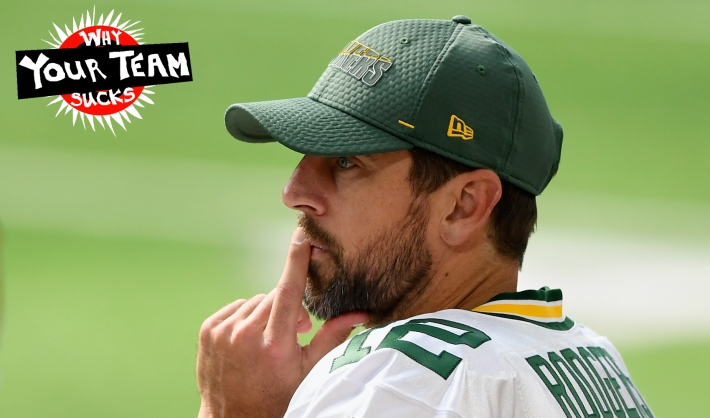 MINNEAPOLIS, MINNESOTA - SEPTEMBER 13: Aaron Rodgers #12 of the Green Bay Packers looks on during the fourth quarter of the game against the Minnesota Vikings at U.S. Bank Stadium on September 13, 2020 in Minneapolis, Minnesota. The Packers defeated the Vikings 43-34. (Photo by Hannah Foslien/Getty Images)