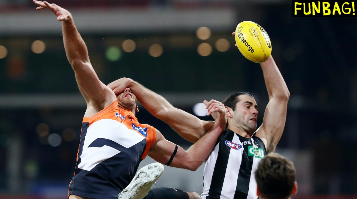 SYDNEY, AUSTRALIA - JUNE 26: Shane Mumford of the Giants competes for the ball against Brodie Grundy of the Magpies during the round 4 AFL match between Greater Western Sydney Giants and Collingwood Magpies at GIANTS Stadium on June 26, 2020 in Sydney, Australia. (Photo by Ryan Pierse/Getty Images)