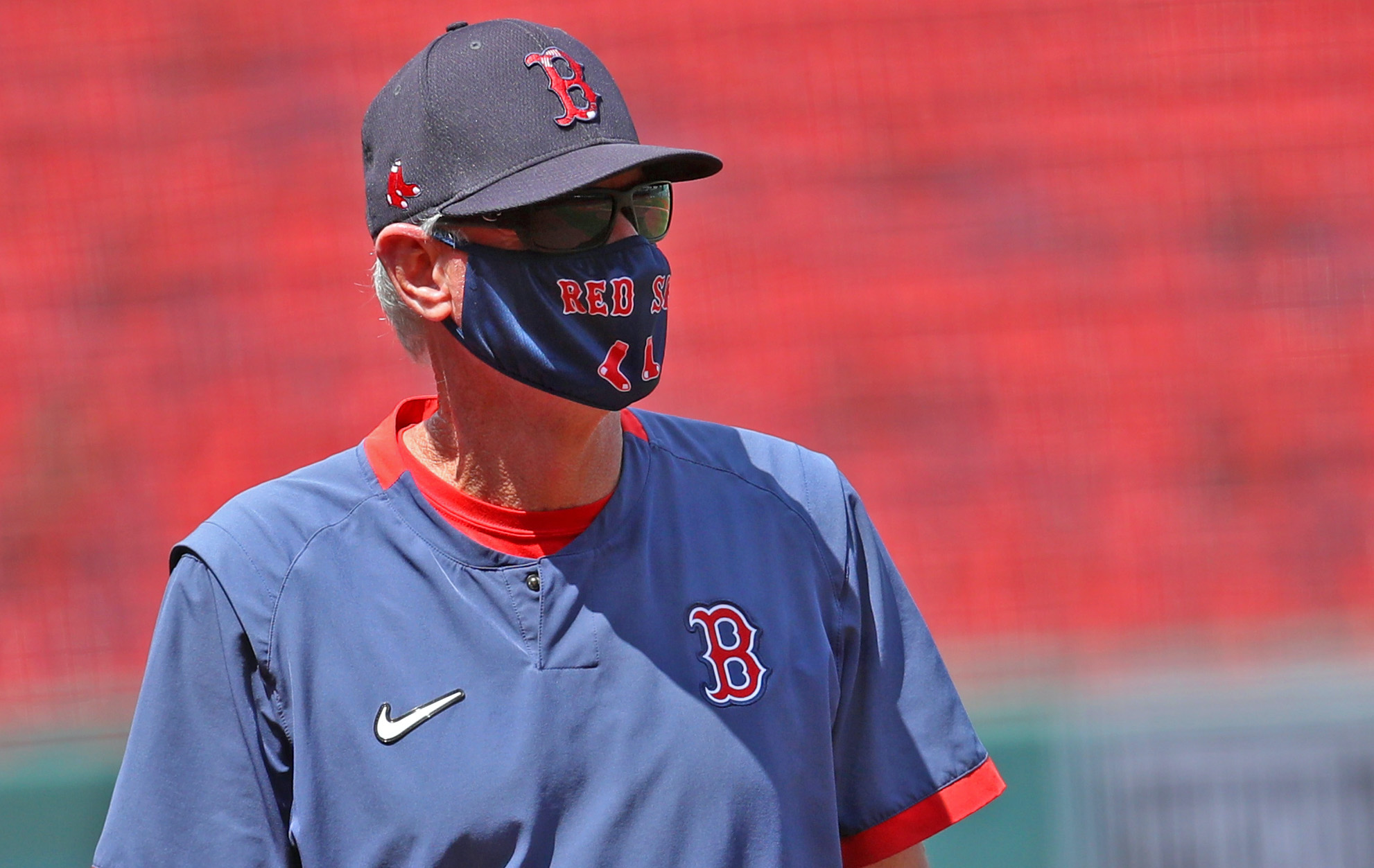 BOSTON, MASSACHUSETTS - JULY 09: Red Sox Manager Ron Roenicke looks on during Summer Workouts at Fenway Park on July 09, 2020 in Boston, Massachusetts. (Photo by Maddie Meyer/Getty Images)