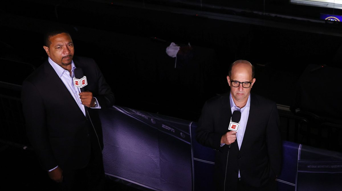 Mark Jackson and Jeff Van Gundy work the ESPN broadcast of an NBA playoff game in the Orlando bubble.