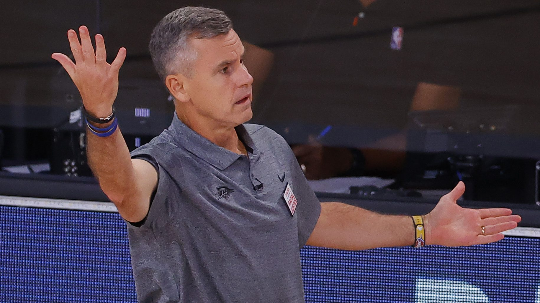 Billy Donovan of the Oklahoma City Thunder reacts against the Houston Rockets during the fourth quarter in Game Four of the Western Conference First Round during the 2020 NBA Playoffs at AdventHealth Arena at ESPN Wide World Of Sports Complex on August 24, 2020 in Lake Buena Vista, Florida.