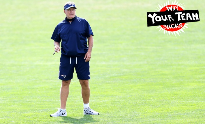 FOXBOROUGH, MASSACHUSETTS - AUGUST 26: Head coach Bill Belichick of the New England Patriots looks on during Patriots Training camp at Gillette Stadium on August 26, 2020 in Foxborough, Massachusetts. (Photo by Maddie Meyer/Getty Images)