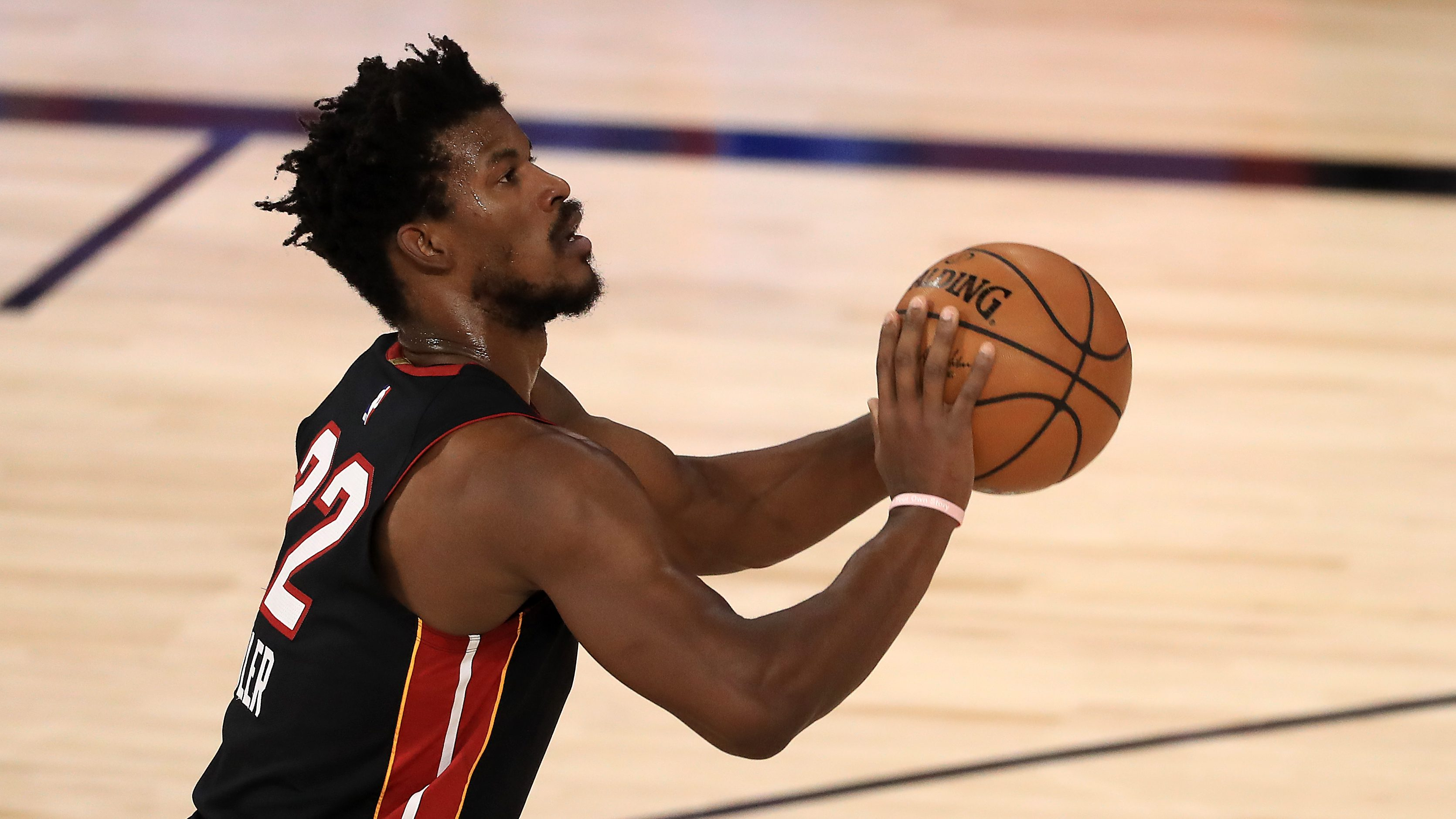 Jimmy Butler of the Miami Heat lines up another free throw during a playoff series against the Milwaukee Bucks.