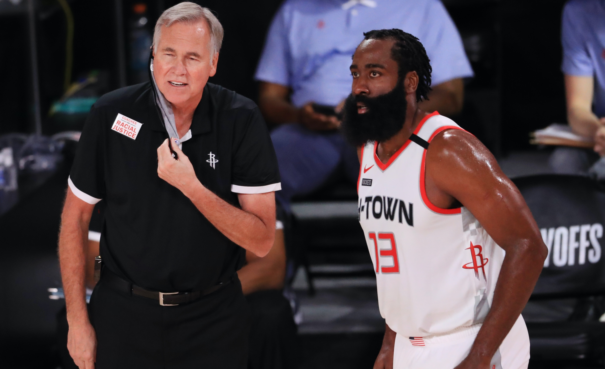 LAKE BUENA VISTA, FLORIDA - SEPTEMBER 04: Mike D'Antoni of the Houston Rockets reacts to James Harden #13 of the Houston Rockets during the second quarter in Game One of the Western Conference Second Round during the 2020 NBA Playoffs at AdventHealth Arena at the ESPN Wide World Of Sports Complex on September 04, 2020 in Lake Buena Vista, Florida. NOTE TO USER: User expressly acknowledges and agrees that, by downloading and or using this photograph, User is consenting to the terms and conditions of the Getty Images License Agreement. (Photo by Mike Ehrmann/Getty Images)