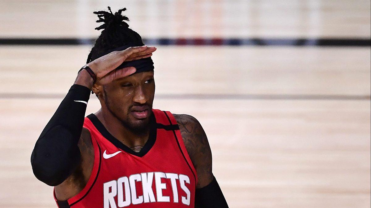 Robert Covington of the Houston Rockets looks tired.