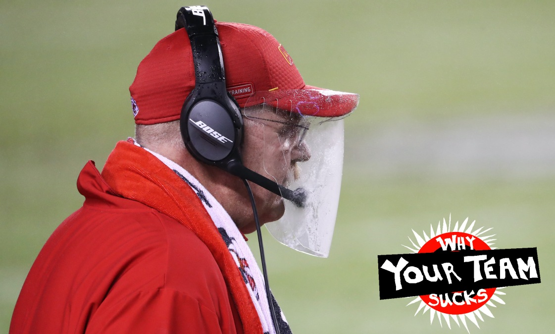 KANSAS CITY, MISSOURI - SEPTEMBER 10: Head coach Andy Reid of the Kansas City Chiefs looks on through a plastic shield during the fourth quarter against the Houston Texans at Arrowhead Stadium on September 10, 2020 in Kansas City, Missouri. (Photo by Jamie Squire/Getty Images)