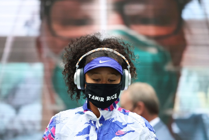 Naomi Osaka wears a mask with the name of Tamir Rice, who was killed in a 2014 police shooting.