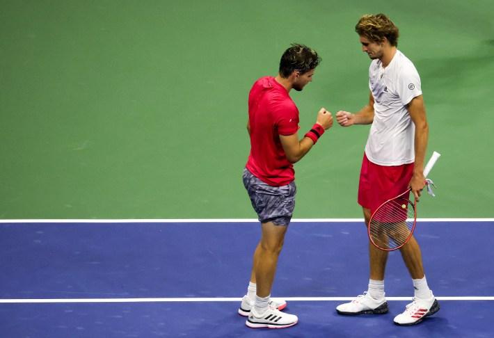 Dominic Thiem and Sascha Zverev bump fists after the 2020 U.S. Open final.