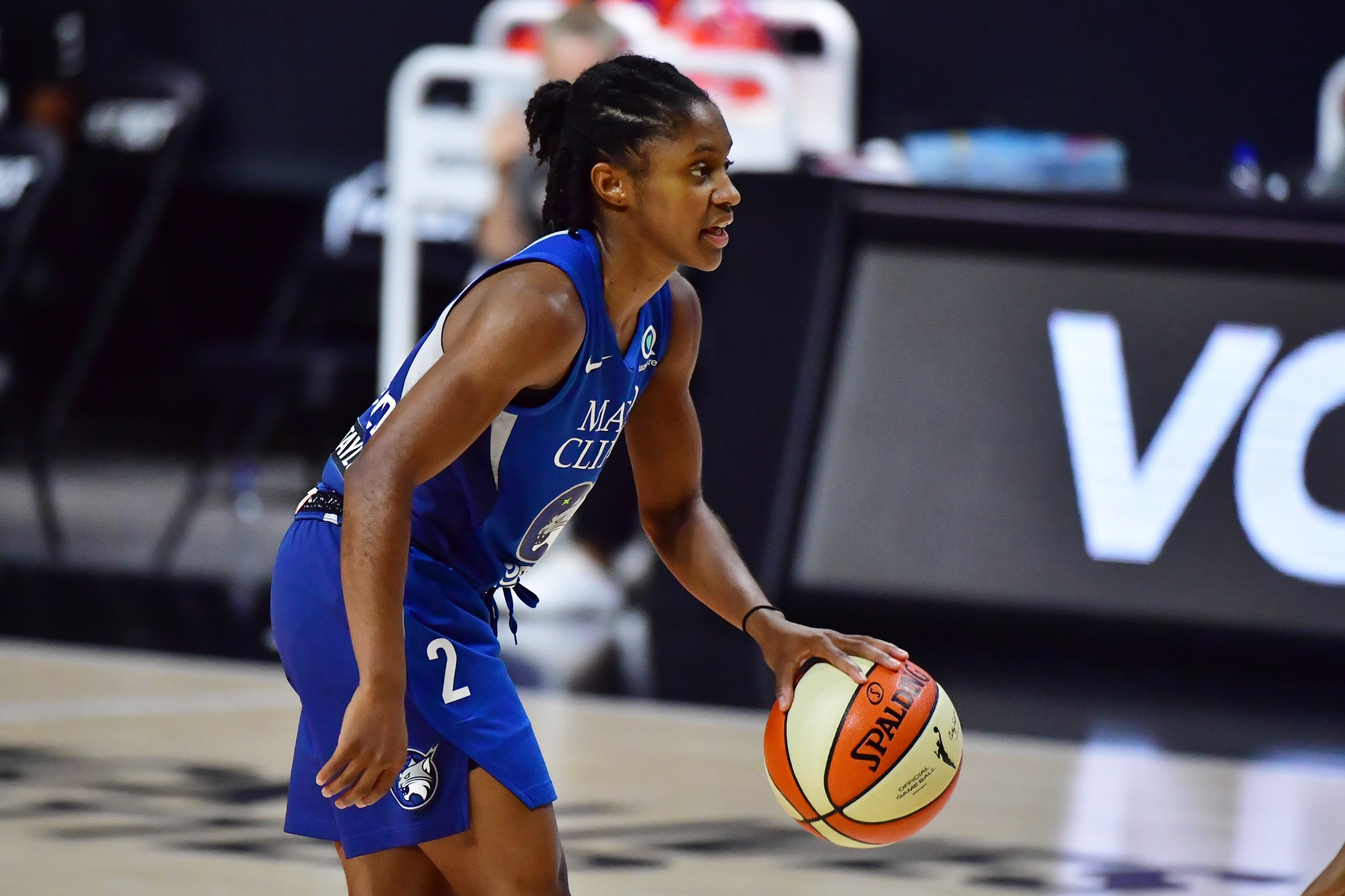 Crystal Dangerfield #2 of the Minnesota Lynx dribbles during the second half against the Phoenix Mercury in Game One of their Second Round playoff at Feld Entertainment Center on September 17, 2020 in Palmetto, Florida.