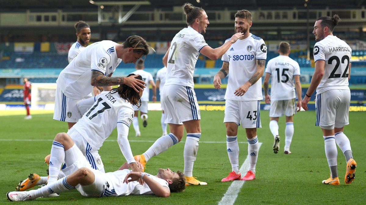 Leeds United celebrates after scoring against Fulham