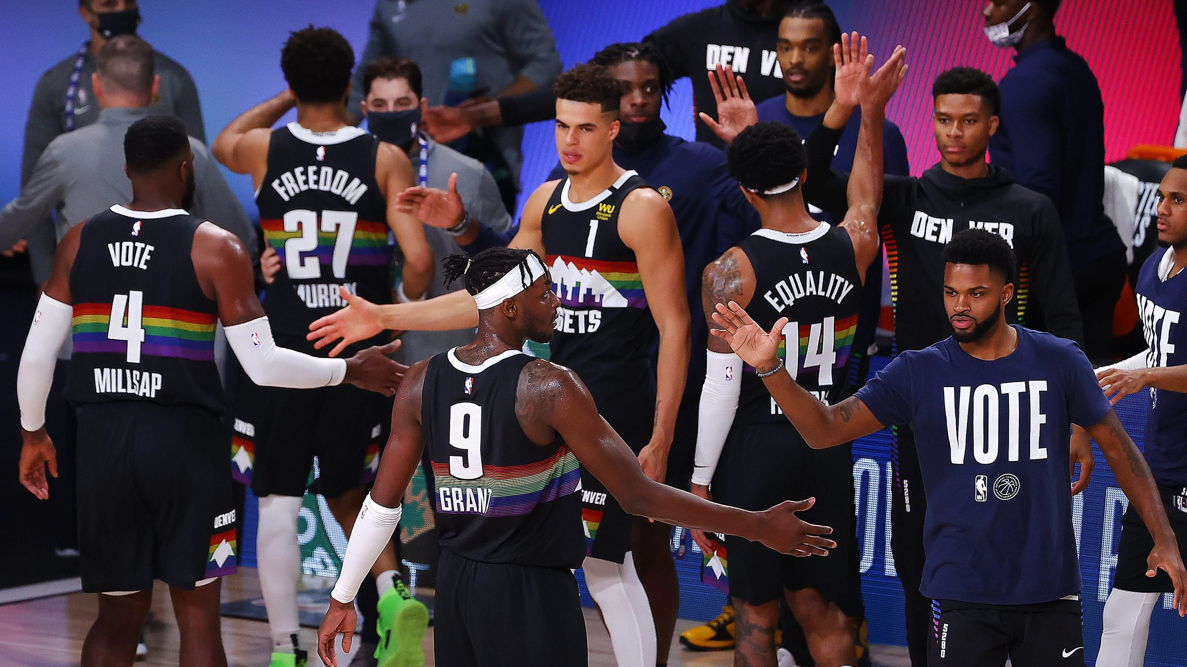 Denver Nuggets players celebrate their Game 3 victory over the Los Angeles Lakers in the 2020 Western Conference Finals.