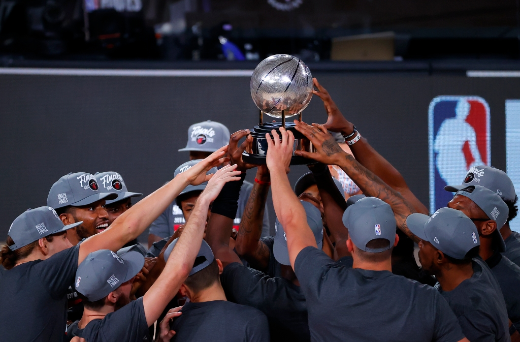 The Miami Heat celebrate their Eastern Conference Finals victory over the Boston Celtics