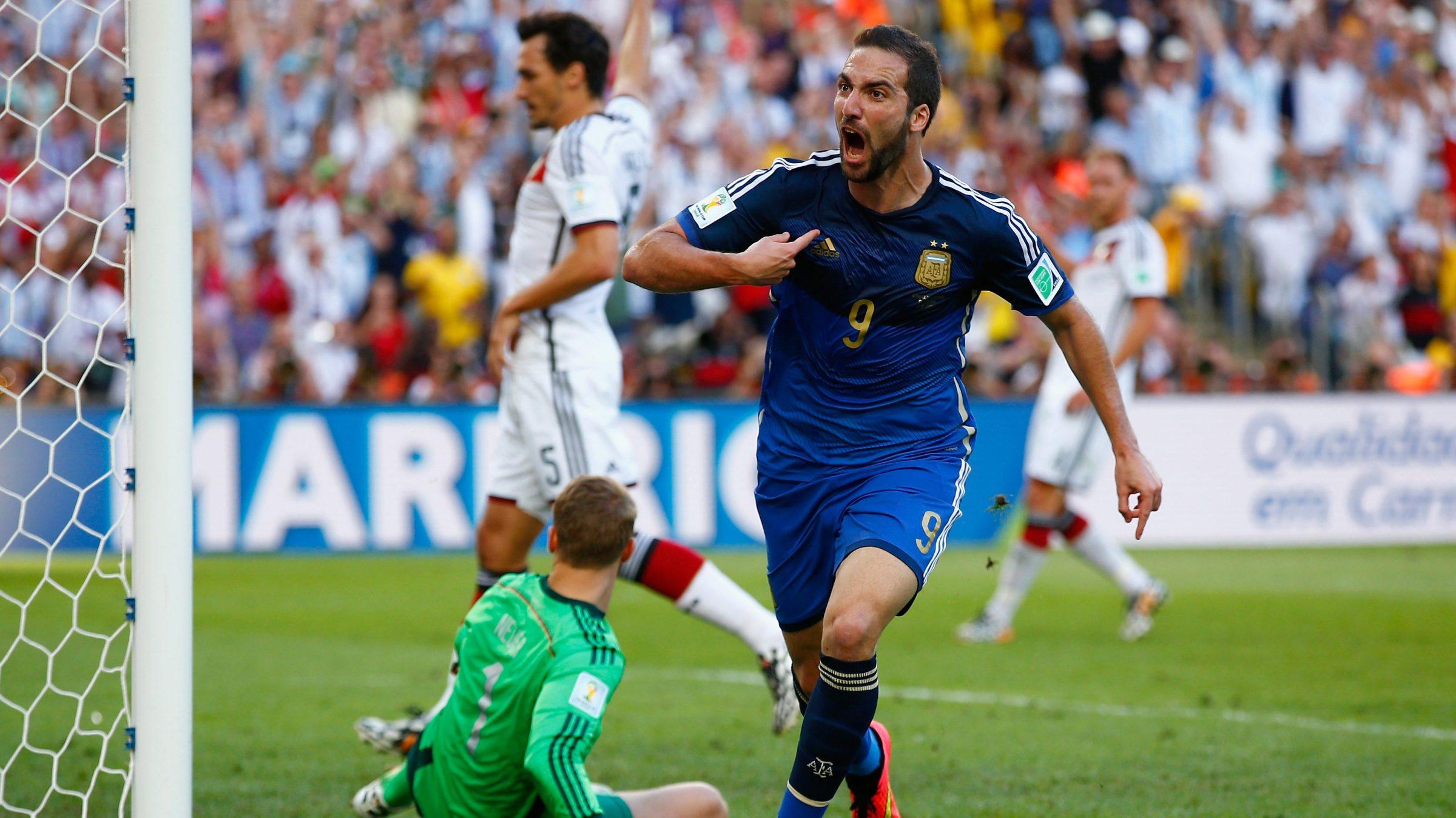 Gonzalo Higuain celebrates disallowed goal vs. Germany