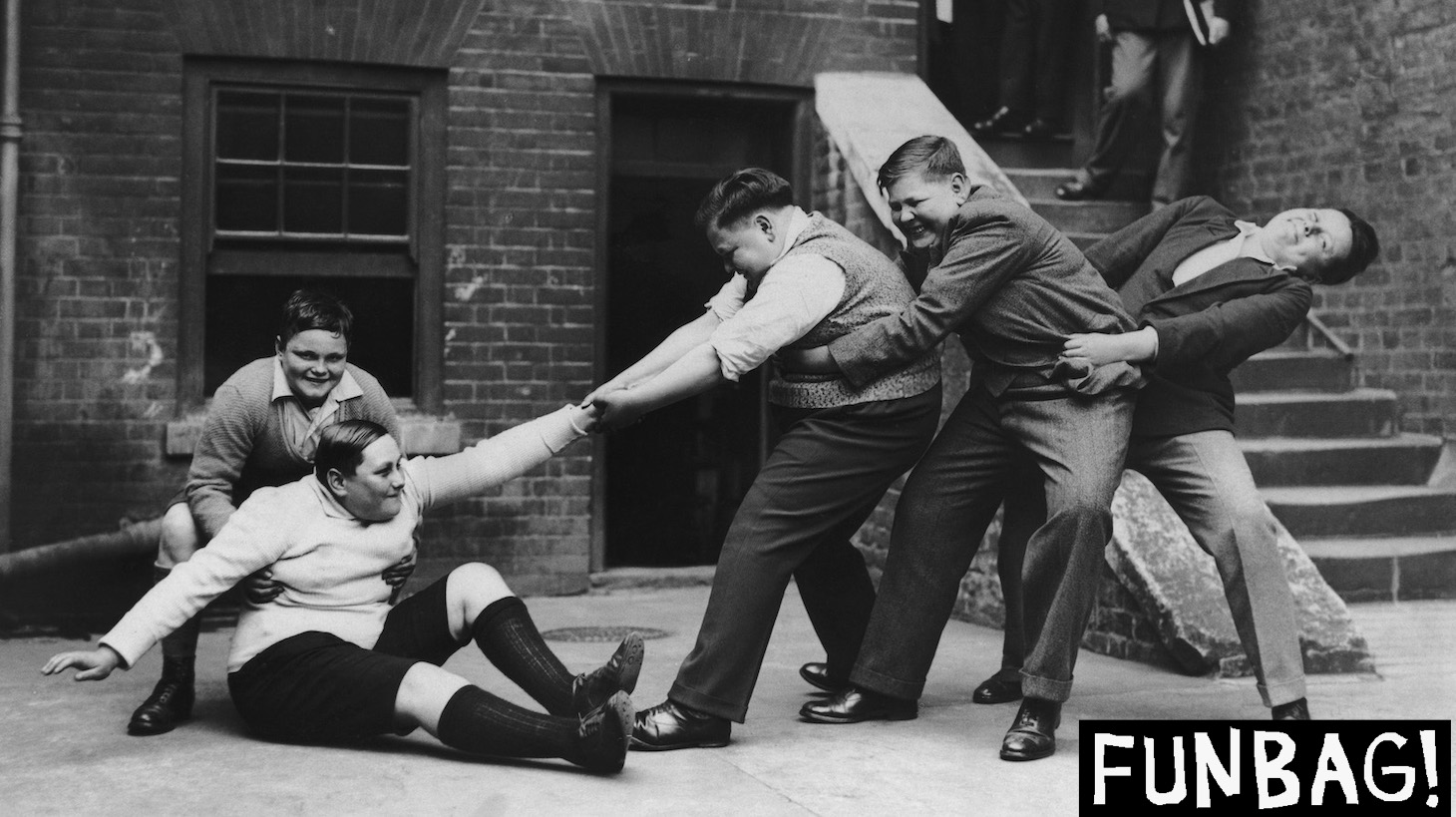 A 13 year-old boy, who weighs 14 stone, is helped to his feet by his companions, 3rd June 1931. They are part of a group of fat boys being entertained to tea at the Guildhall, London, before one of them is chosen to take part in a historical pageant in Rochester, Kent. (Photo by Keystone/FPG/Hulton Archive/Getty Images)