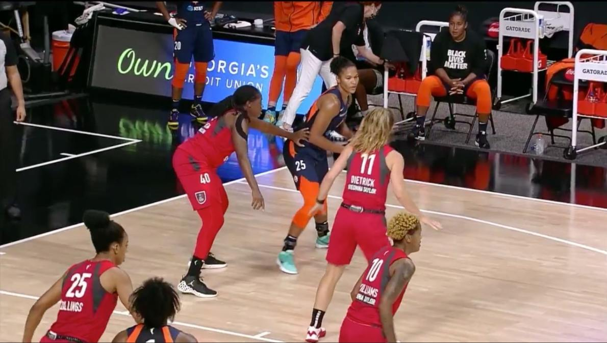 Alyssa Thomas of the Connecticut Sun is guarded by the Atlanta Dream