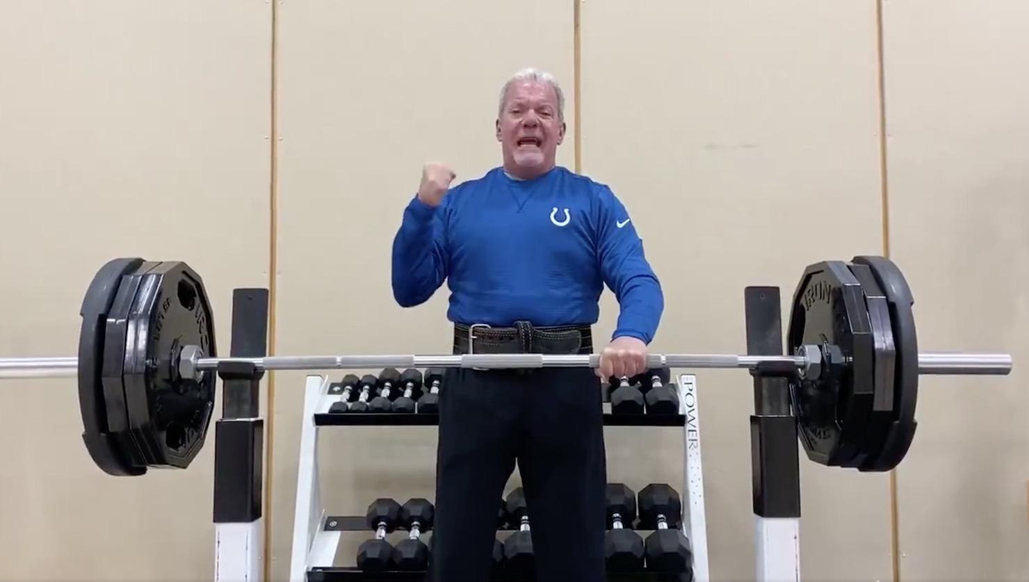 Jim Irsay lifts weights