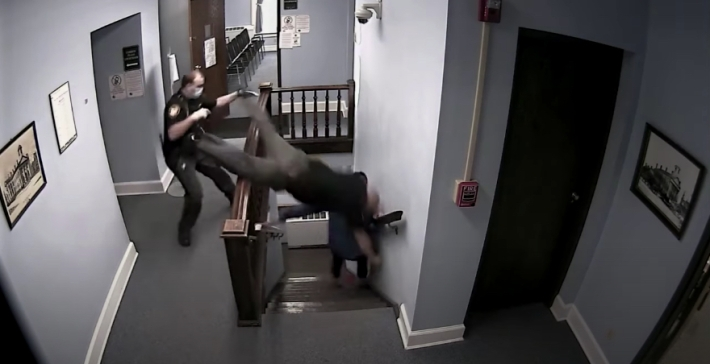 Bailiff dives over staircase railing as he fails to apprehend drug offender