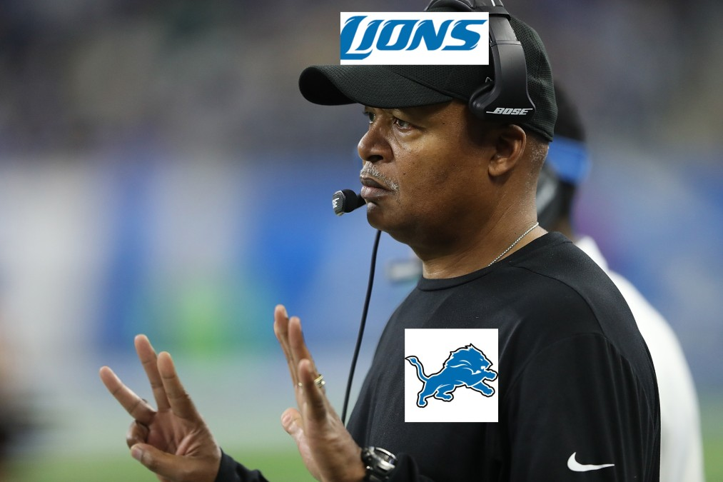 Coach Jim Caldwell with Detroit Lions logos edited onto his shirt and hat
