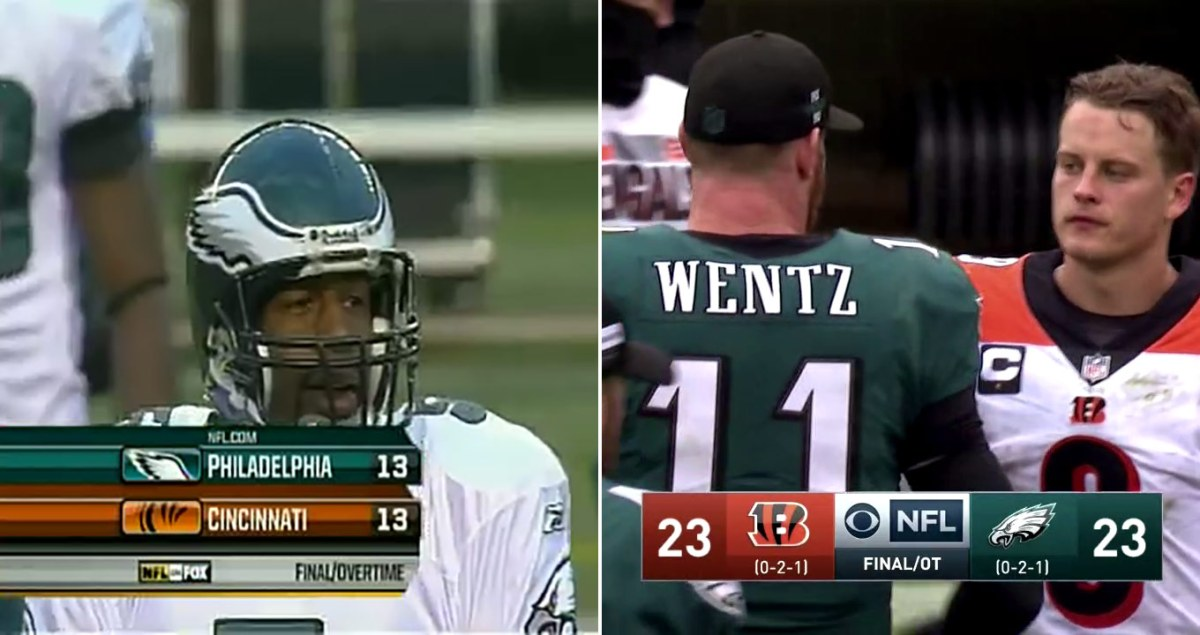A split image. One side shows Donovan McNabb after a tie in 2008. The other shows Carson Wentz after a tie in 2020. Both games were against the Bengals.