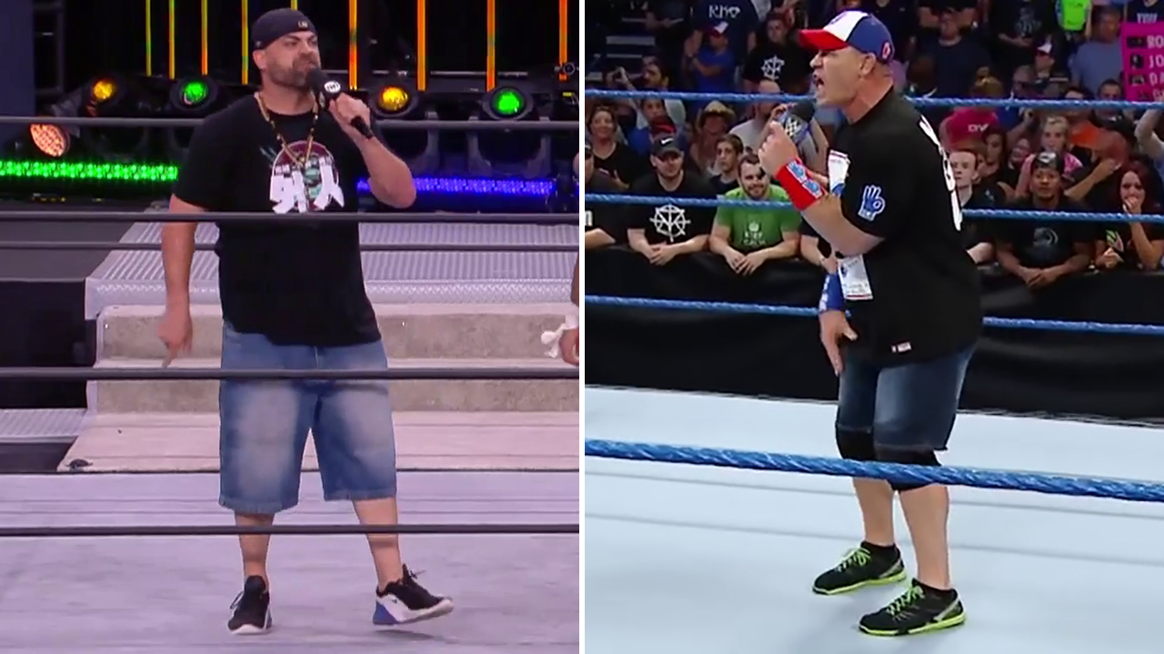 Split screen of Eddie Kingston and John Cena. Both are wearing a baseball cap, a black t-shirt, shorts and sneakers. Kingston's jorts are much larger