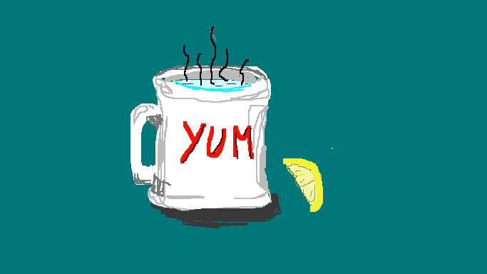 ms paint drawing of a white mug with hot water in it and a lemon
