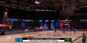 Empty basketball court during NBA strike