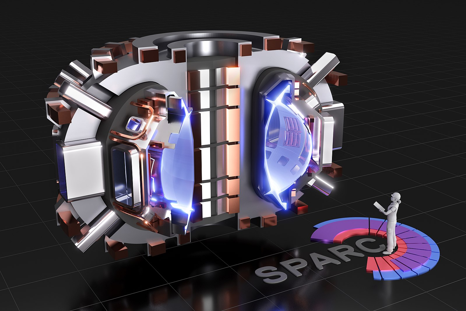 Rendering of SPARC, a compact, high-field, DT burning tokamak, currently under design by a team from the Massachusetts Institute of Technology and Commonwealth Fusion Systems. Its mission is to create and confine a plasma that produces net fusion energy.