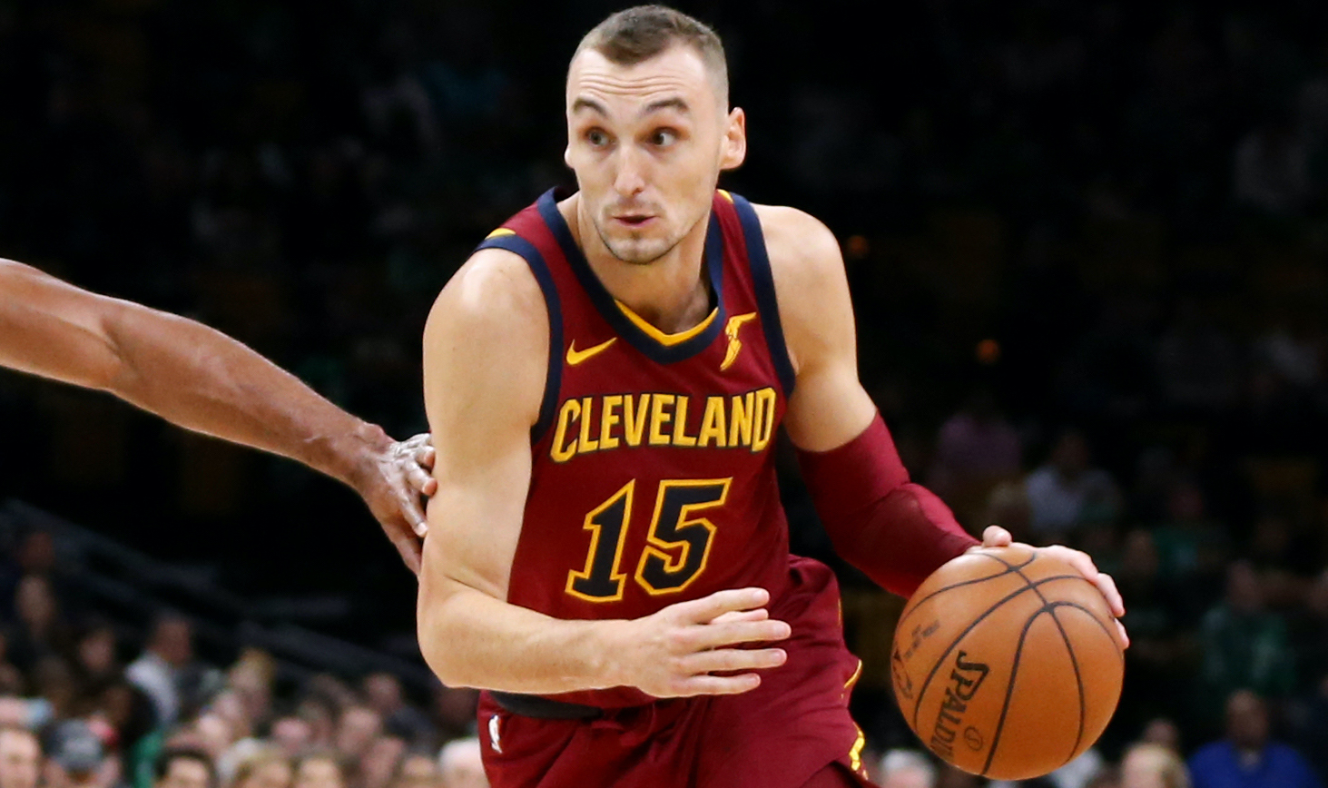 BOSTON, MA - OCTOBER 2: Sam Dekker #15 of the Cleveland Cavaliers drives against Al Horford #42 of the Boston Celtics during their preseason game at TD Garden on October 2, 2018 in Boston, Massachusetts. (Photo by Maddie Meyer/Getty Images)