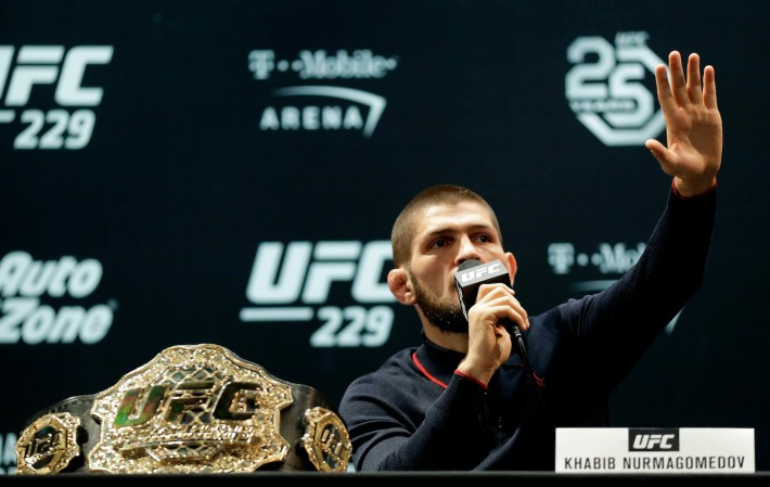 Khabib speaks during a press conference for UFC 229 at Park Theater at Park MGM on October 03, 2018 in Las Vegas, Nevada. McGregor will challenge UFC lightweight champion Khabib Nurmagomedov for his title at UFC 229 on October 6 at T-Mobile Arena in Las Vegas.