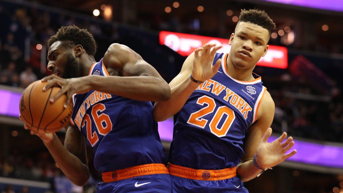 Two random Knicks players, doing random basketball stuff, forgettably.