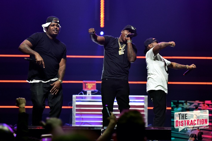 The Lox, seen here performing onstage, and not on a podcast.