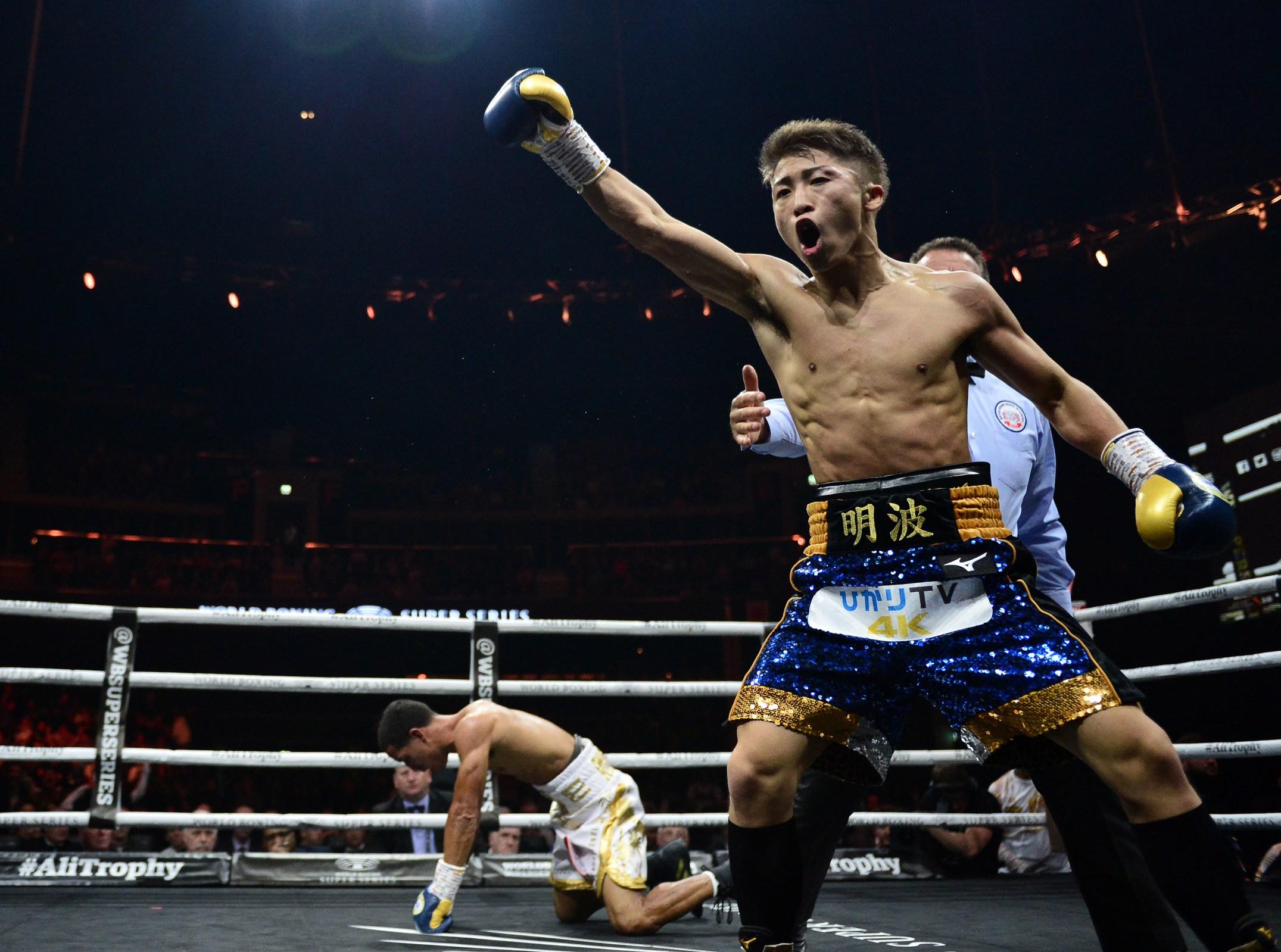 Naoya Inoue celebrates as he knocks down Emmanuel Rodriguez