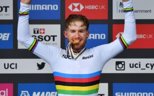 Gold medallist USA's Quinn Simmons reacts after winning the Men Junior Road Race at the 2019 UCI Road World Championships, Richmond to Harrogate in northern England on September 26, 2019. (Photo by Ben STANSALL / AFP) (Photo credit should read BEN STANSALL/AFP via Getty Images)