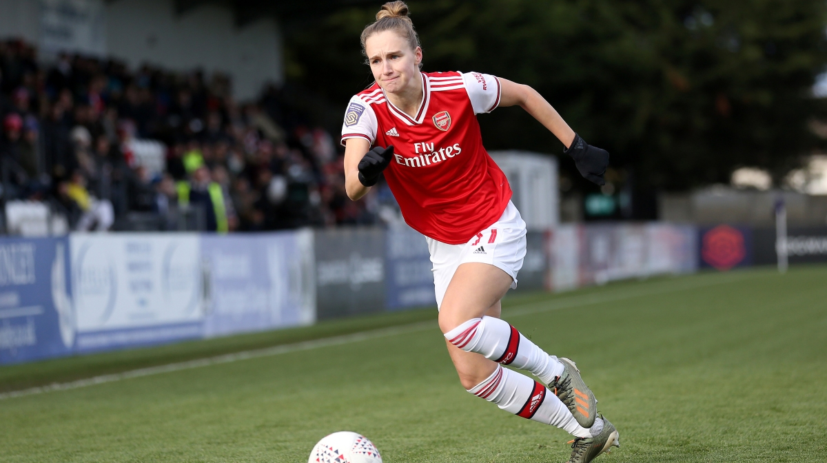 Vivianne Miedema of Arsenal runs with the ball during the Barclays FA Women's Super League match between Arsenal and Bristol City