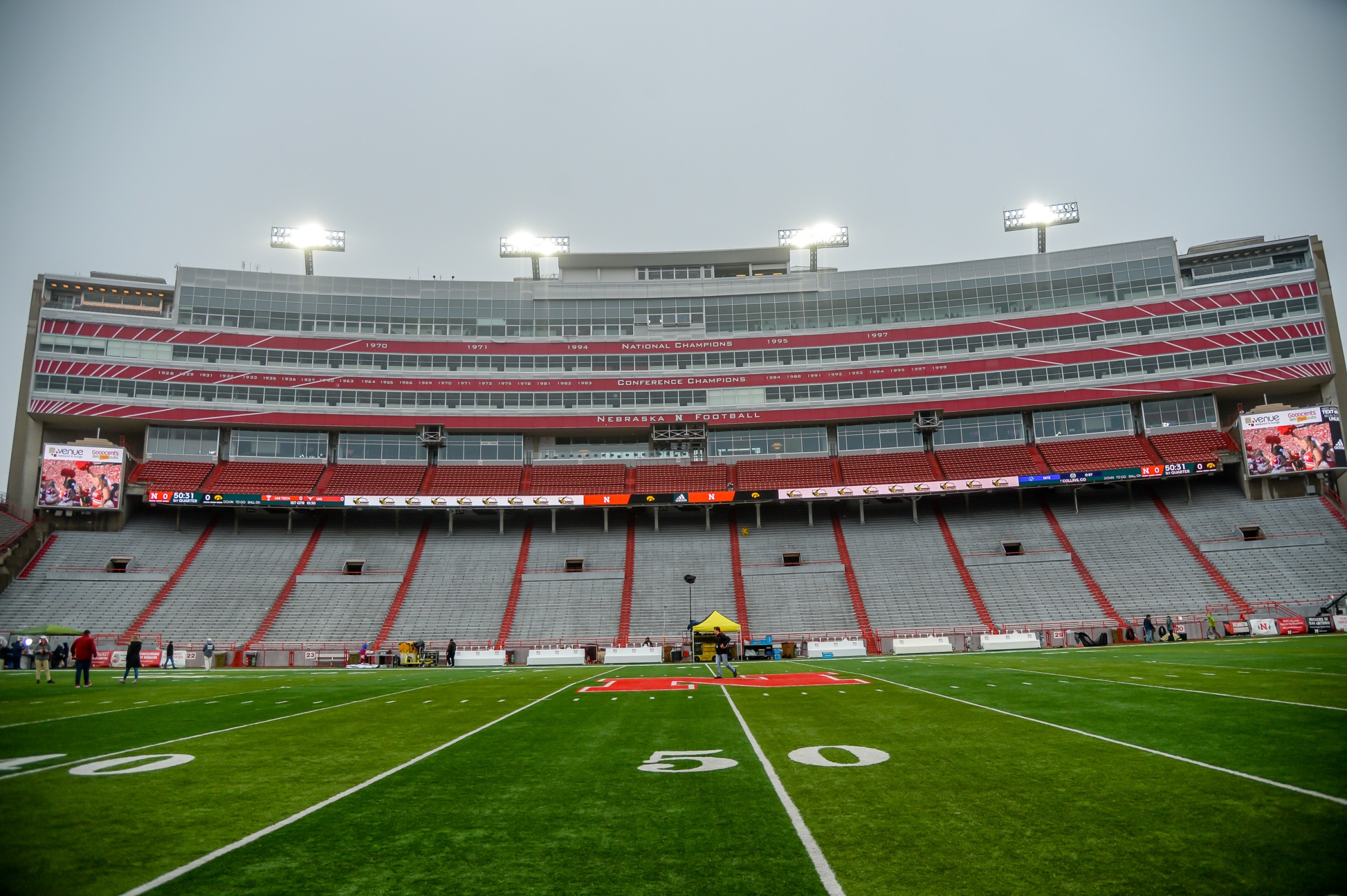 A sideline view of Nebraska's Memorial Stadium, where the Defector Idiots hope to achieve ultimate glory in the sport of college football