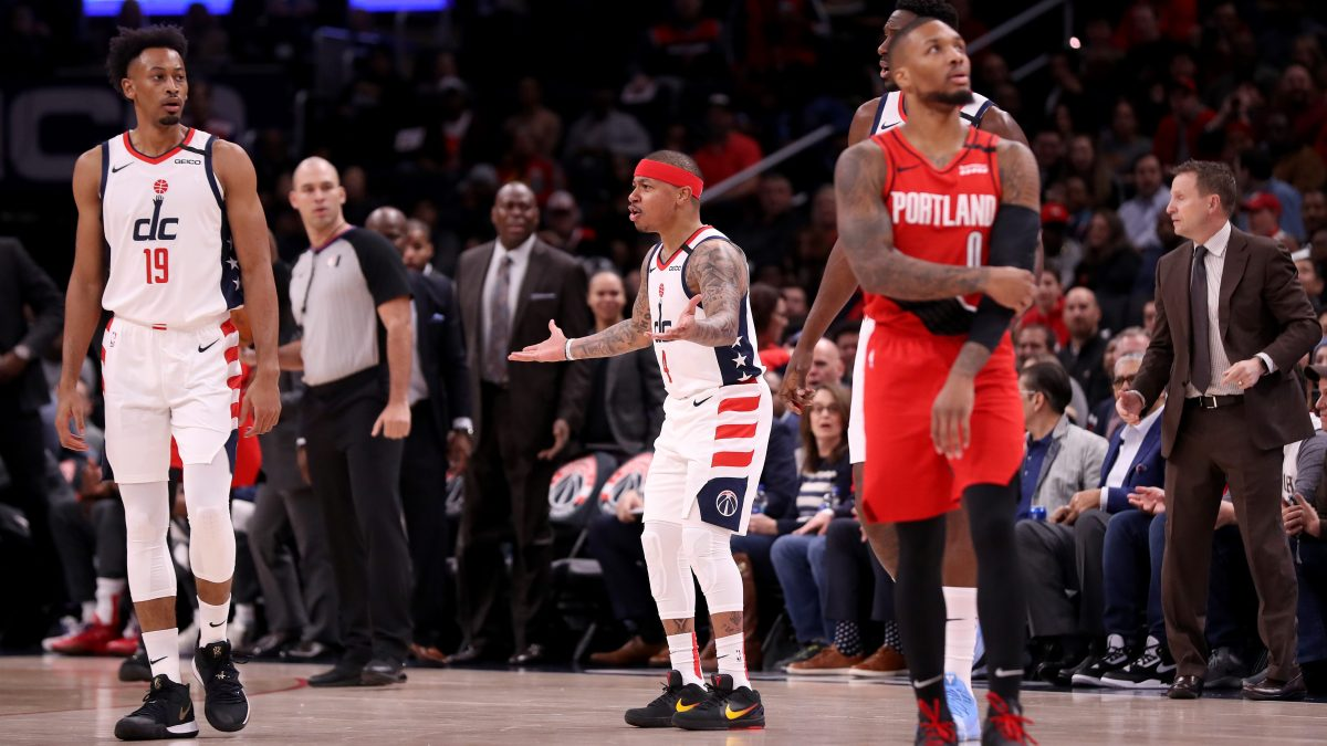Isaiah Thomas of the Washington Wizards reacts after being ejected during the first quarter against the Portland Trail Blazers at Capital One Arena on January 03, 2020 in Washington, DC.