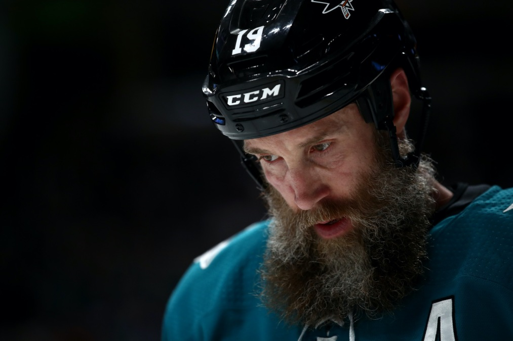 SAN JOSE, CALIFORNIA - MARCH 03: Joe Thornton #19 of the San Jose Sharks skates on the ice during their game against the Toronto Maple Leafs at SAP Center on March 03, 2020 in San Jose, California. (Photo by Ezra Shaw/Getty Images)
