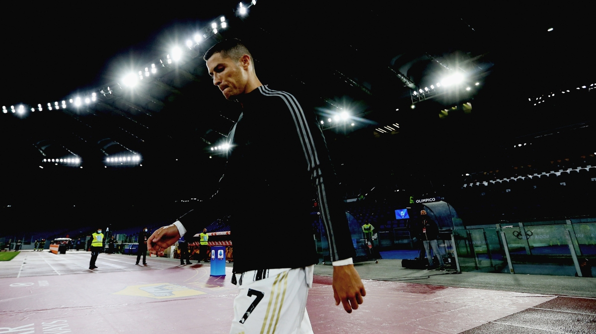 Cristiano Ronaldo of Juventus looks on during the Serie A match between AS Roma and Juventus at Stadio Olimpico on September 27, 2020
