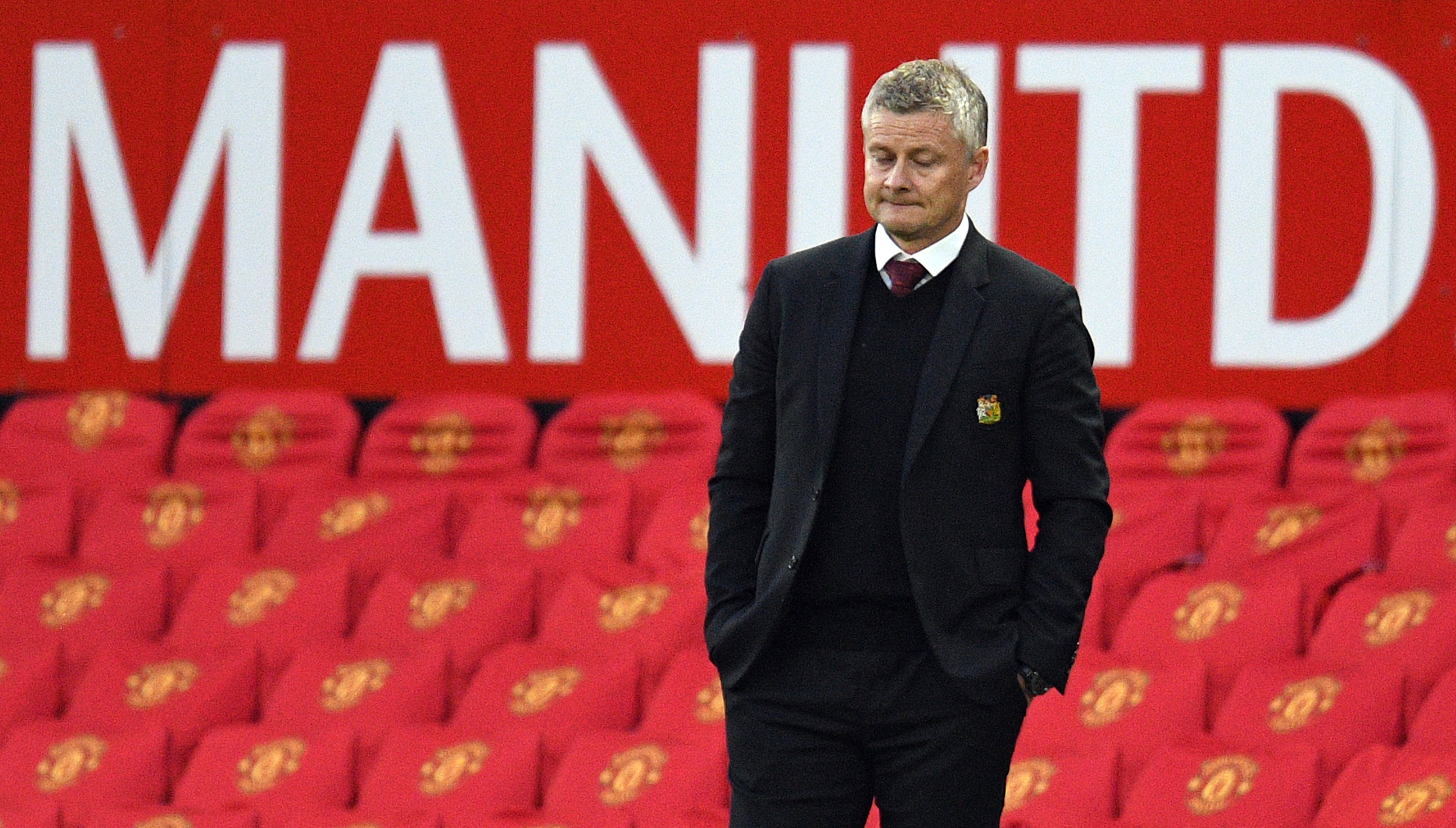 Manchester United's Norwegian manager Ole Gunnar Solskjaer looks on from the sidelines during the English Premier League football match between Manchester United and Tottenham Hotspur at Old Trafford