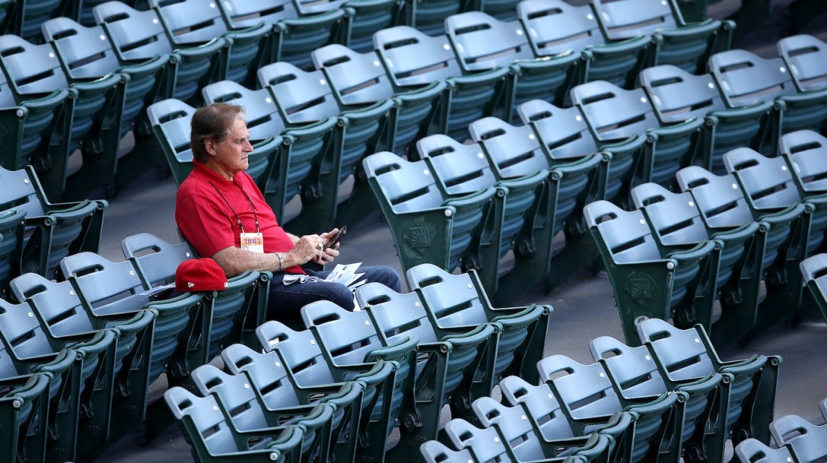 ANAHEIM, CALIFORNIA - JULY 08: Special Advisor Tony La Russa of the Los Angeles Angels looks on during their summer workout at Angel Stadium of Anaheim on July 08, 2020 in Anaheim, California. (Photo by Sean M. Haffey/Getty Images)