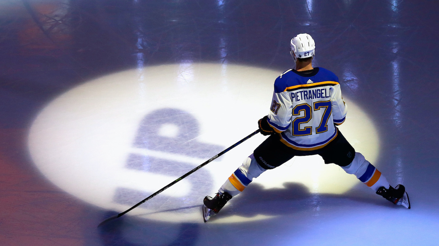 EDMONTON, ALBERTA - AUGUST 17: Alex Pietrangelo #27 of the St. Louis Blues skates prior to the game against the Vancouver Canucks in Game Four of the Western Conference First Round during the 2020 NHL Stanley Cup Playoffs at Rogers Place on August 17, 2020 in Edmonton, Alberta, Canada. (Photo by Jeff Vinnick/Getty Images)