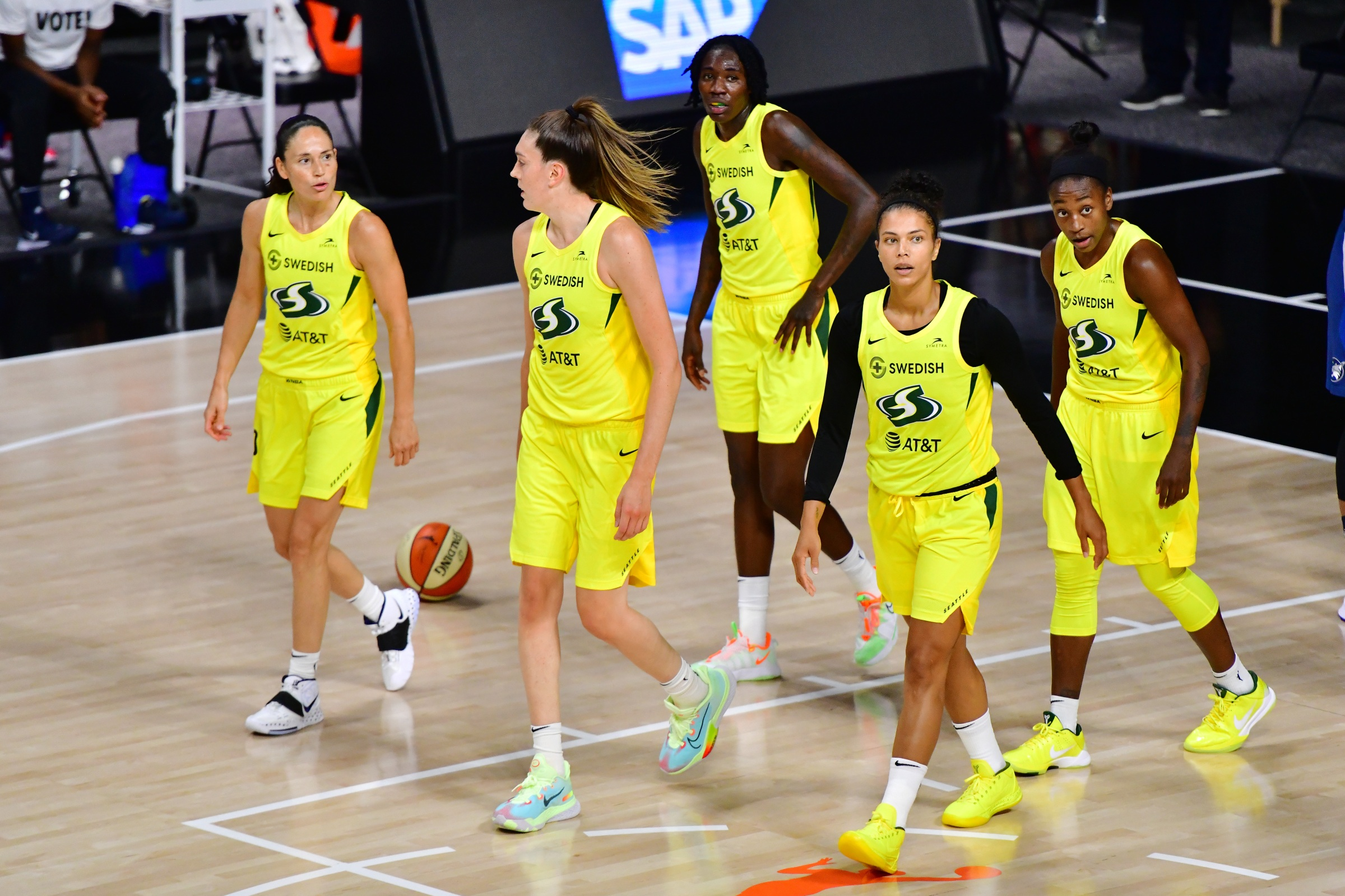 Sue Bird #10, Breanna Stewart #30, Natasha Howard #6, Alysha Clark #32, and Jewell Loyd #24 of the Seattle Storm walk across the court after a foul during the first half of Game One of their Third Round playoff against the Minnesota Lynx at Feld Entertainment Center on September 22, 2020 in Palmetto, Florida.