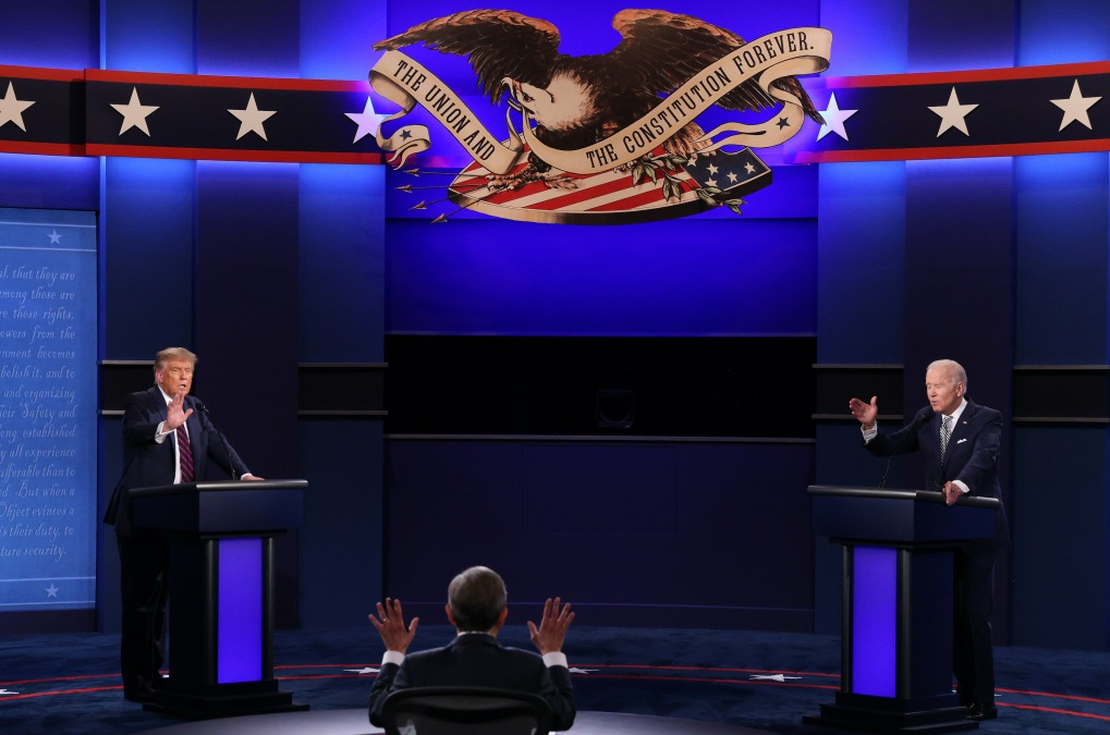 Donald Trump and Joe Biden at the presidential debate.