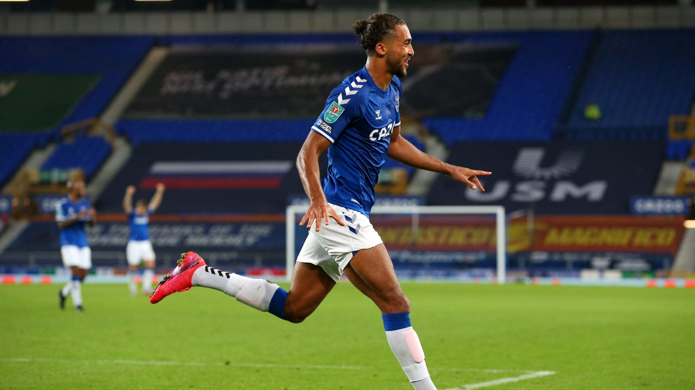 Dominic Calvert-Lewin of Everton celebrates after scoring his sides fourth goal during the Carabao Cup fourth round match between Everton and West Ham United at Goodison Park